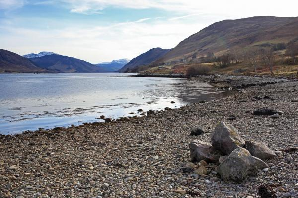 pebble beach of loch close to house