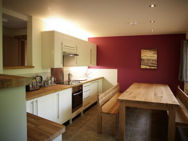 kitchen dining area in Golden Oak cabin