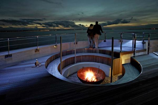 communal fire pit at night