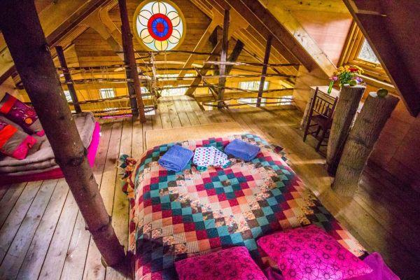 colourful bedspreads and stained glass