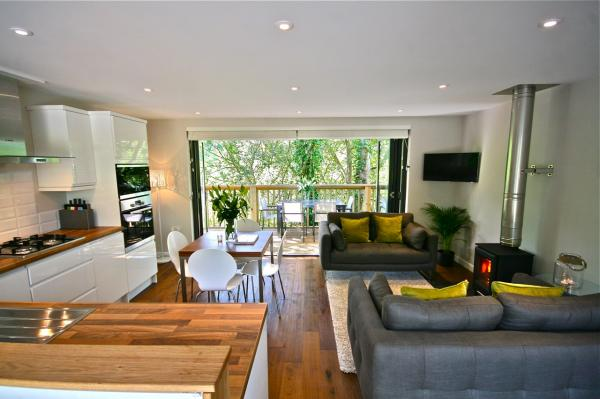 open plan living area opens to balcony
