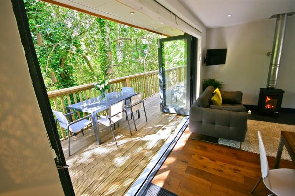 indoor outdoor space amidst the trees