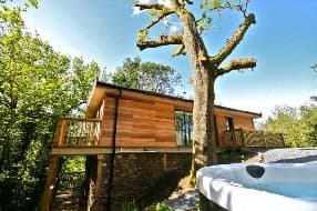 luxury treehouse with hot tub