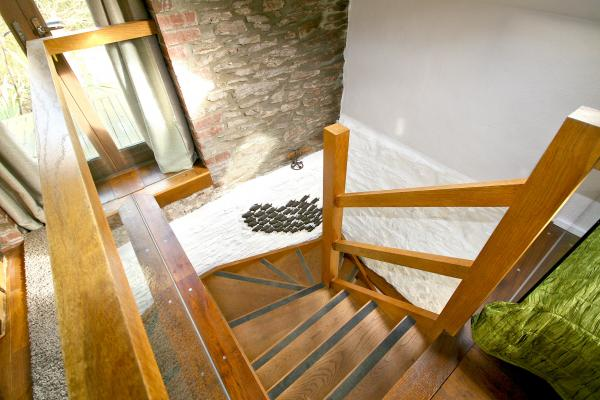 the stairs at the lodge