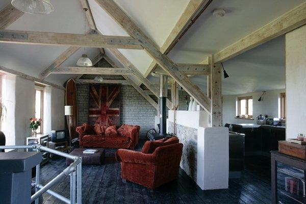 open plan living area under beams