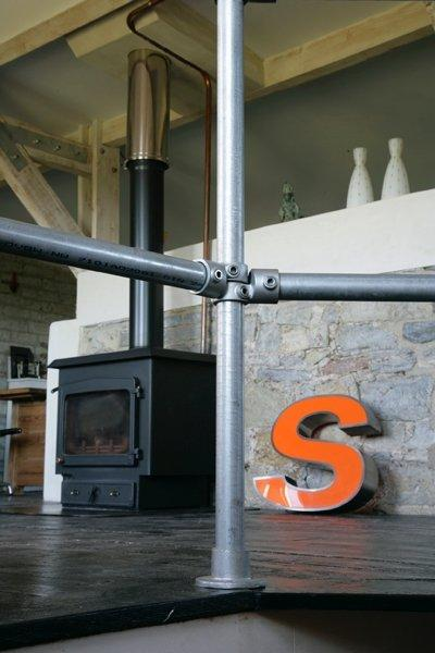 woodburning stove at Thornreed Studio