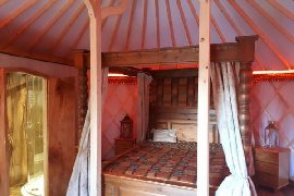 Double bed in Somerset Shire Yurt