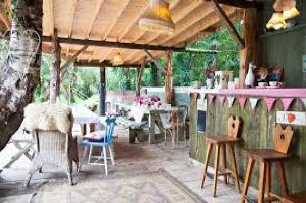 charming glamping site with bunting