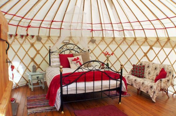 Interior of Poppy Yurt
