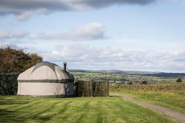 yurts in lovely scenery