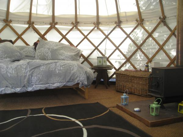 woodburner in yurt