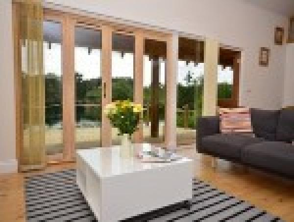 log cabin open plan living with great views
