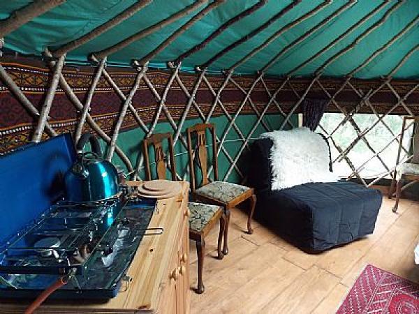 Cooking facilities inside Rowan yurt