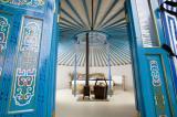 interior of the bedroom yurt