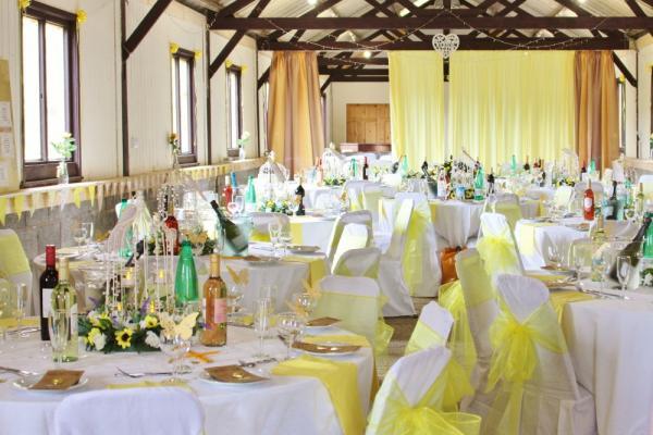 long barn ready for wedding