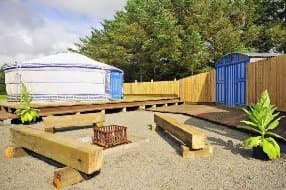 the yurt has plenty of outdoor space
