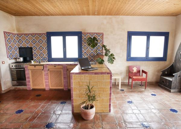 kitchen with colourful tiles