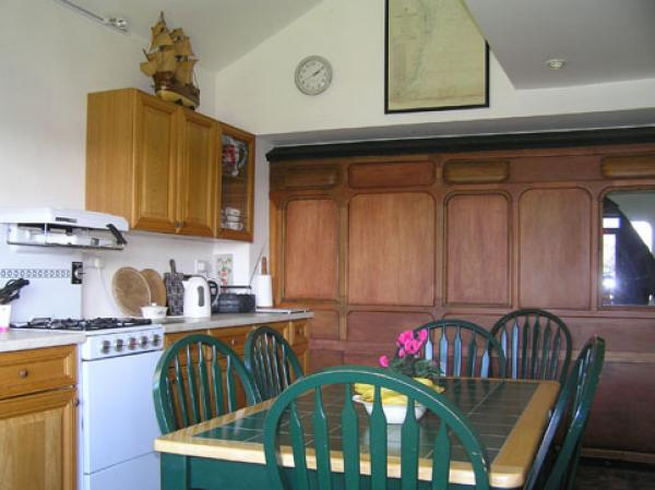 the railway carriage seen from kitchen/dining area