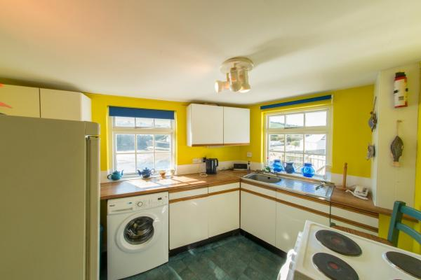 brightly painted kitchen