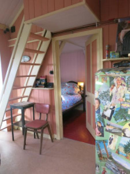 Steep stairs to attic bedroom