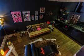 en suite room with artwork