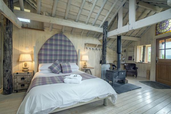 double bed in tree house