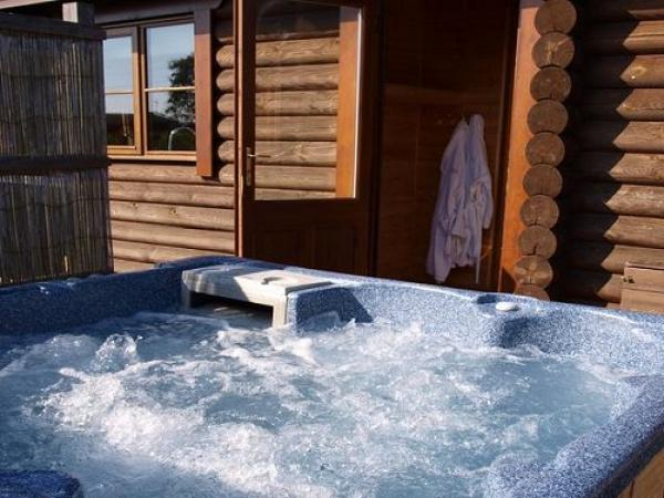 each lodge has a private hot tub