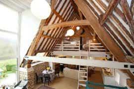 Vaulted open plan mezzanine bedroom
