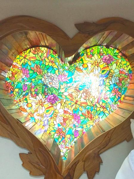 Beautiful heart stained glass window