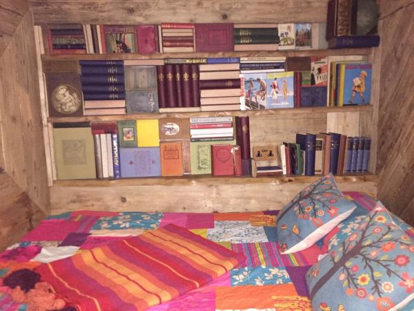 colourful bed surrounded by books