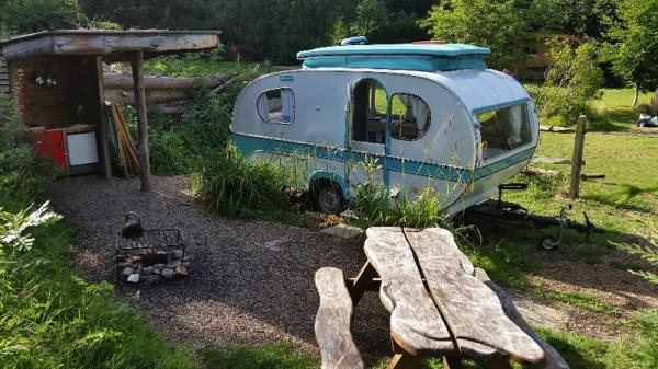 Double Bubble Caravan and dining table