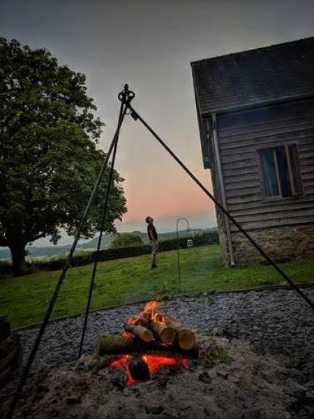 campfire outside Cruckbarn