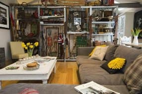 sitting room with sporty memorabilia section