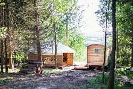 Exterior of hut and yurt