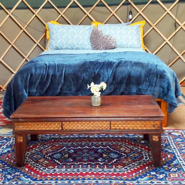 cosy interior of Campden Yurt