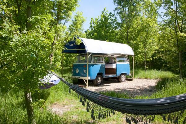 covered VW van bedroom