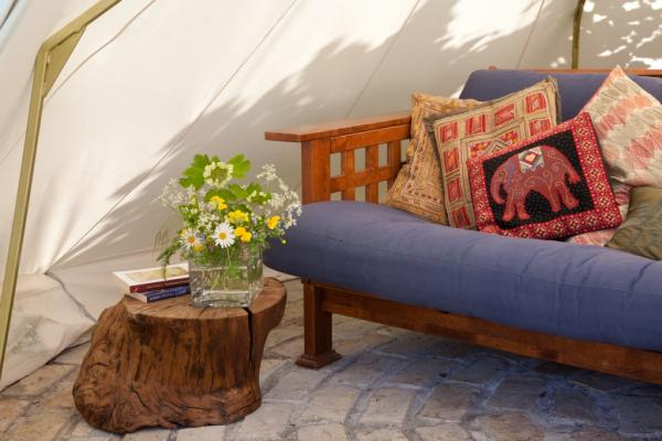 the futon in the bell tent
