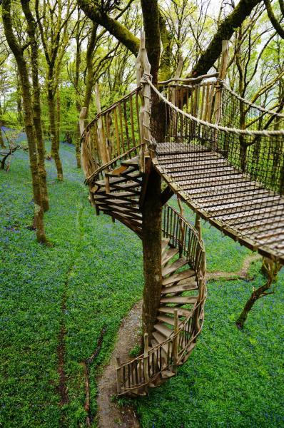 climb up and cross a bridge