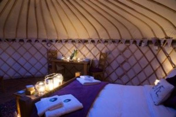 Interiors of lavender yurt