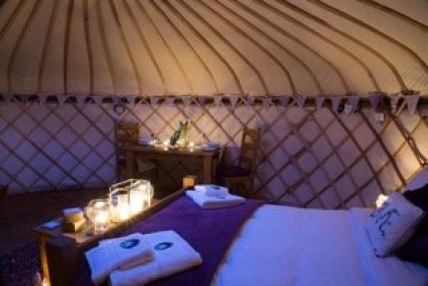 Interiors of lavender yurt