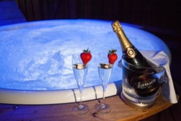 enjoy a dip in the hot tub