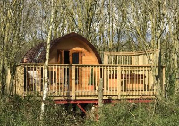 raised treepod with hot tub