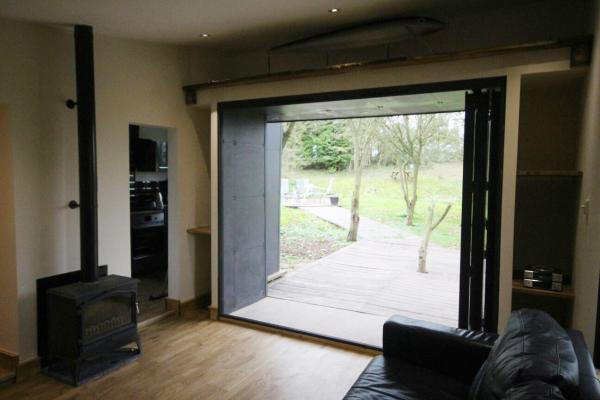 bifold doors out to the lakeside decking