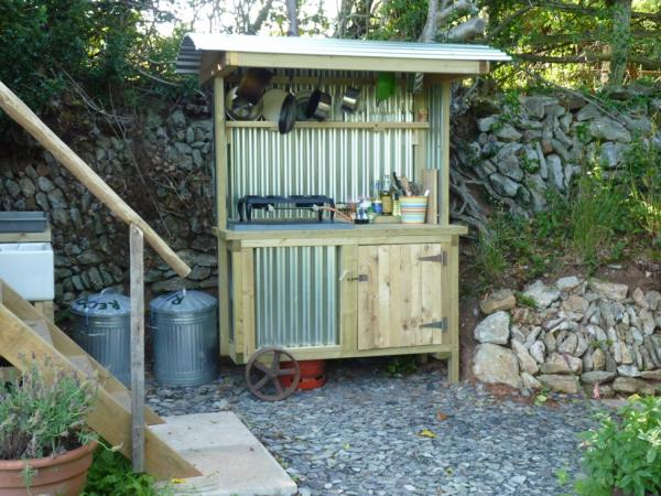 Outdoor kitchen at Orchard Wagon comes complete with herbs