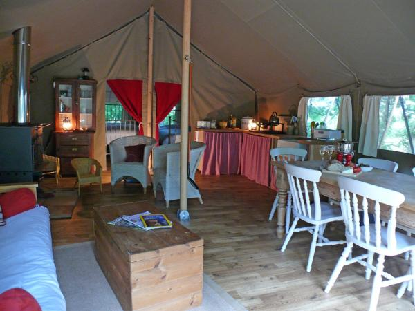 Interior of the tent at Woodland Camp - its got everything you need