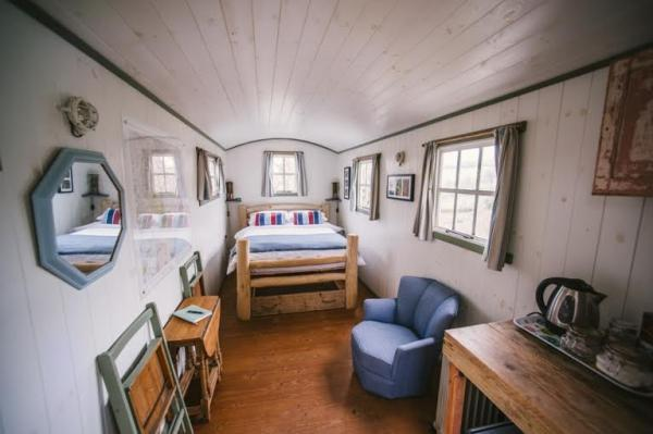 Interior of Shepherds hut at Orchard Wagon