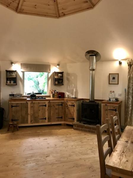woodburner and kitchenette