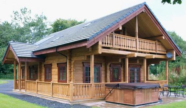 large lodge accommodation with hot tub