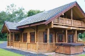 large lodge accommodation with hot tub