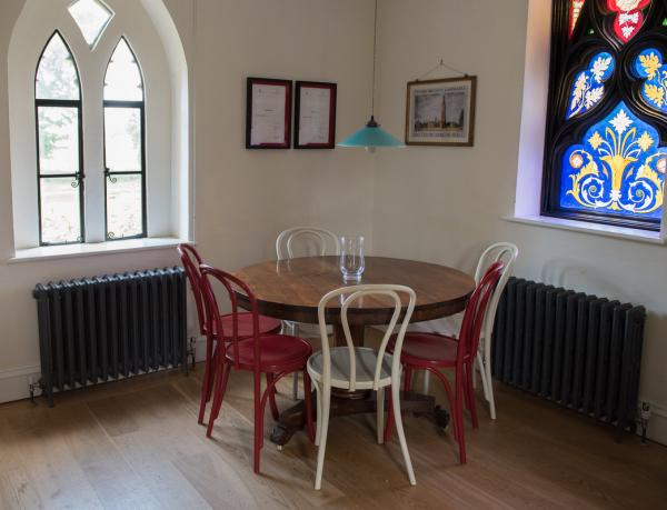 dining / kitchen with stained glass window